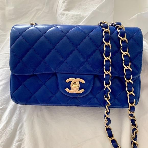 Chanel Lambskin Mini Matelasse Blue Bag by Chanel
